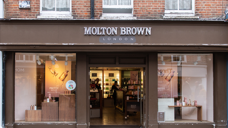 Chichester, United Kingdom - October 06 2018:   The front of Molton Brown cosmeetics store in East Street