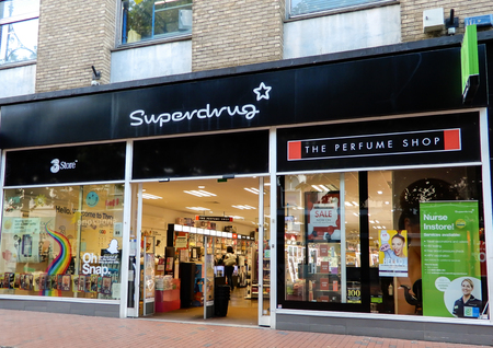 Reading, United Kingdom - June 22 2018:   The store frontage of Superdrug Pharmacist and cosmetic store in Broad St