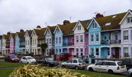 Worthing, United Kingdom - March 29 2018:   A row of colourful houses on New Parade