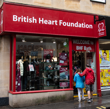 Bath, United Kingdom - October 13 2018:   The front of the British Heart Foundation Charity shop in Westgate Street Publikacyjne