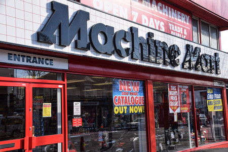 Brighton, United Kingdom - March 28 2018:   Front of Machine Mart store in Lewes Road