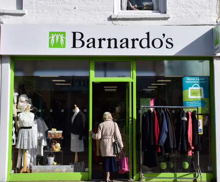 Hove, United Kingdom - March 27 2018:   The Front of Barnardos Charity shop in George Street