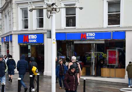 Brighton, United Kingdom - March 29 2018:   The frontage of Metro bank branch on Western Road