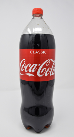 Reading, United Kingdom - March 26 2018:   Pack Shot of a bottle of classic flavour coca cola