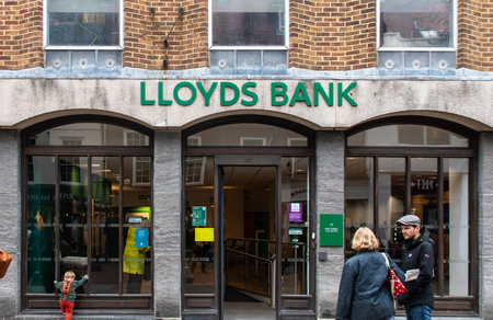 Chichester, United Kingdom - October 06 2018:   The Front of the Lloyds Bank branch in East Street