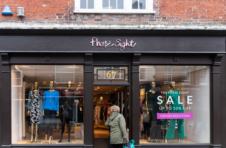 Chichester, United Kingdom - October 06 2018:   The front of Phase Eight clothes store in East Street