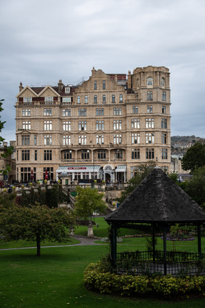 Bath, United Kingdom - October 13 2018:   Garfunkels restaurant on the ground floor and luxury falts on the upper floors of the former Empire Hotel on Orange Grove