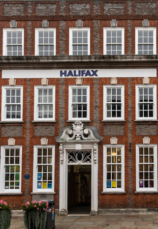 Chichester, United Kingdom - October 06 2018:   The front of Halifax Bank branch in East Street