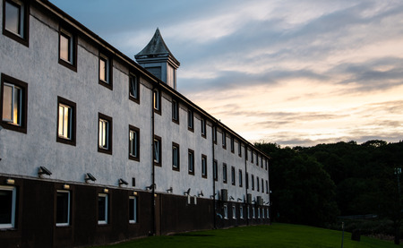 Preston, United Kingdom - August 07 2018:   The Macdonald Tickled Trout hotel in Preston at sunset