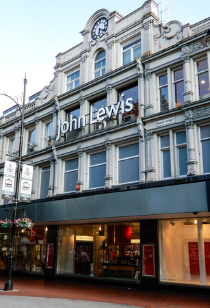 Reading, United Kingdom - June 22 2018:   The store frontage of John Lewis department Store in Broad St
