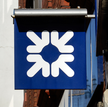 Basingstoke, United Kingdom - July 05 2018:   The Hanging Sign of Royal bank of Scotland in Winchester St
