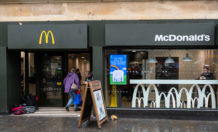 Bath, United Kingdom - October 13 2018:   The front of McDonalds fast food restaurant in Southgate Street