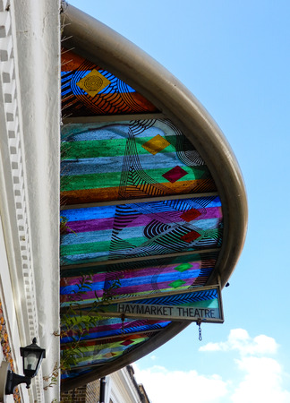 Basingstoke, United Kingdom - July 05 2018:   The  Stained Galss Canopy above  the entrance to the Haymarket Theatre in Wote Street