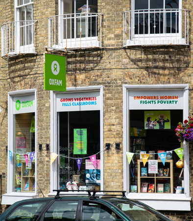 Lymington, United Kingdom - July 22 2018:   The front of Oxfam Charity shop in the High Street
