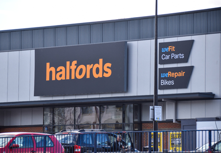 Brighton, United Kingdom - March 28 2018:   Front of Halfords store in Lewes Road