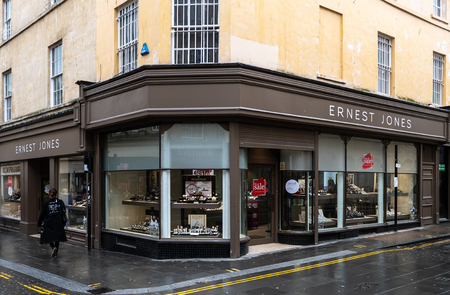 Bath, United Kingdom - October 13 2018:   The front of Ernest Jones Jewellers in Stall St