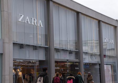 Brighton, United Kingdom - March 29 2018:   The frontage of Zara in Churchill Square Editorial