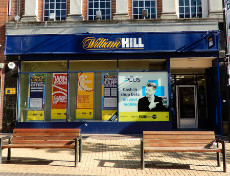 Basingstoke, United Kingdom - July 05 2018:   The frontage of William Hill Bookmakers in Winchester Street