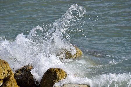 Mediterrenean Waves break on the costal rocks of Cyprus
