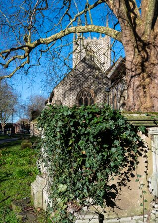 An Ivy covered tomb in the graveyard of Reading Minster church Reklamní fotografie