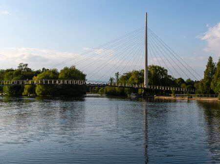 The Christchurch Suspension bridge as it crosses the Thames in Reading