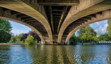 The view across the Thames underneath Reading Bridge Stock Photo