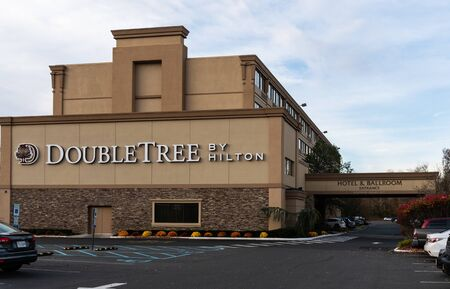 Eatontown, United States - November 14 2018:   The Frontage of the Hilton Doubletree hotel on Hope Street