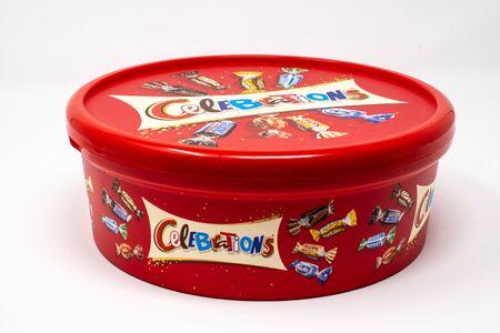Reading, United Kingdom - December 30 2018:   A tub of Mars celebrations mini chocolates containing Twix, Bounty, mars Bars, maltesers, Milky way, Snickers Sajtókép