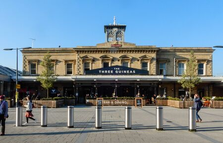 Reading, United Kingdom - April 11 2019:   The Three Guineas pub, formerly a part of Reading Train Station, on station Hill