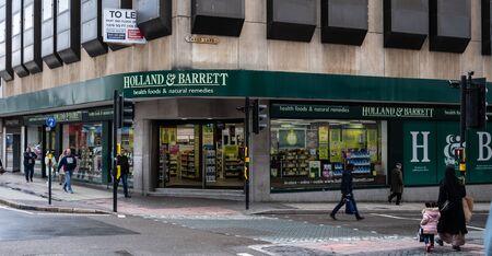 Birmingham, England - March 17 2019: The Entrance to Holland And Barrett heath foods store in High Street Sajtókép