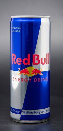 Reading, United Kingdom - April 19 2019:   A 250 millilitre can of Red Bull energy drink