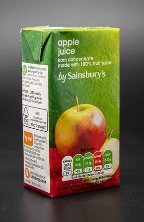 Reading, United Kingdom - April 19 2019:   A small carton of Apple Juice