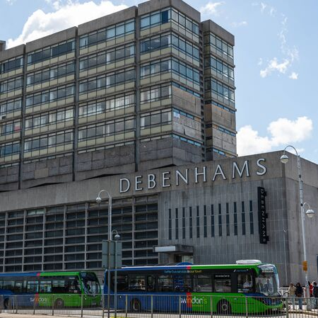Swindon, United Kingdom - May 04 2019:   The Frontage of Debenhams Department store in Fleming Way
