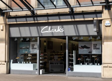Swindon, United Kingdom - May 04 2019:   The Frontage of Clarks shoe Store on the Parade