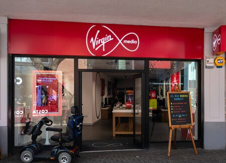 Swindon, United Kingdom - May 04 2019:   The Frontage of Virgin Media Store on the Parade