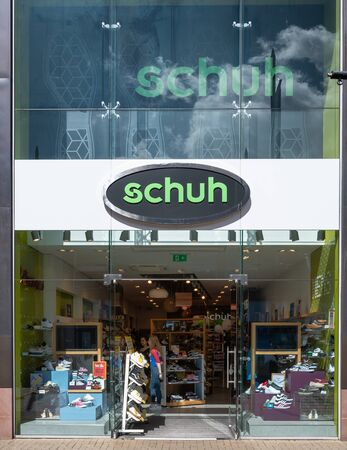Swindon, United Kingdom - May 04 2019:   The Frontage of Schuh shoe store in The Parade