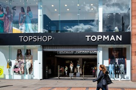 Swindon, United Kingdom - May 04 2019:   The Frontage of TopShop and TopMan clothes store in The Parade