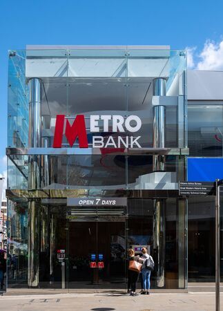 Swindon, United Kingdom - May 04 2019:   The Frontage of Metro bank branch in The Parade