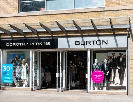Swindon, United Kingdom - May 04 2019:   The Frontage of Dorothy Perkins and Burton clothes store in Canal Walk
