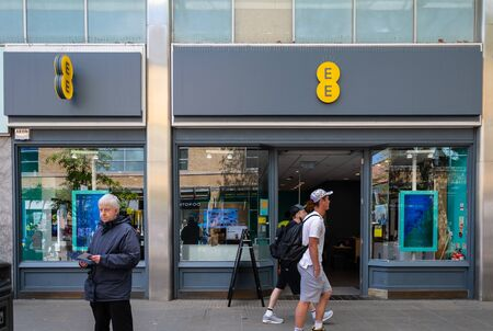 Swindon, United Kingdom - May 04 2019:   The Frontage of EE Mobile phone store in Canal Walk