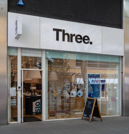 Swindon, United Kingdom - May 04 2019:   The Frontage of Three Mobile phone store in Canal Walk