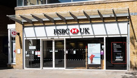Swindon, United Kingdom - May 04 2019:   The Frontage of HSBC Bank branch in Canal Walk