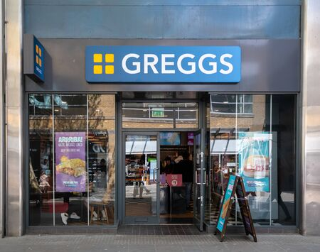 Swindon, United Kingdom - May 04 2019:   The Frontage of Greggs Bakery in Canal Walk Редакционное