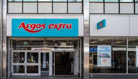 Swindon, United Kingdom - May 04 2019:   The Frontage of Argos Catalog store in Canal Walk Редакционное