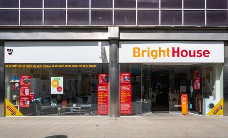 Swindon, United Kingdom - May 04 2019:   The Frontage of BrightHouse Electronics store in Canal Walk