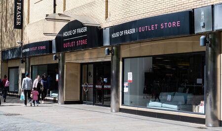 Swindon, United Kingdom - May 04 2019:   The entrance to House Of Frasers retail outlet store on Canal Walk Редакционное