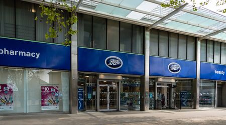 Swindon, United Kingdom - May 04 2019:   The Entrance to Boots Pharmacy on Canal Walk