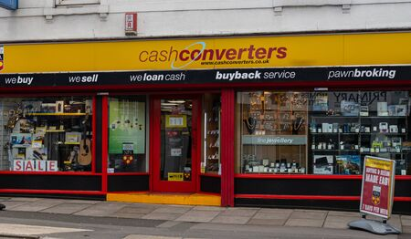 Swindon, United Kingdom - May 04 2019:   The frontage of Cash Converters pawn shop on Commerecial Road