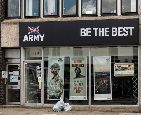 Swindon, United Kingdom - May 04 2019:   The entrance to the Army recruiting office in Commercial Road Редакционное