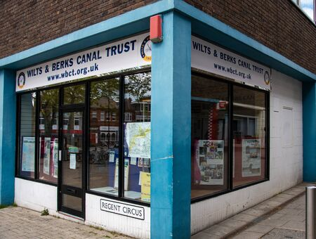 Swindon, United Kingdom - May 04 2019:   The shop for the Wilts and Berks Canal Trust on Regents Circus